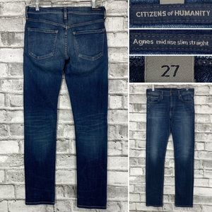 Citizens of Humanity Agnes Mid Rise Slim Straight 27 x 30 Stretch Denim Jeans